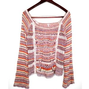 Free People Knit Boho Bell Sleeve Sweater